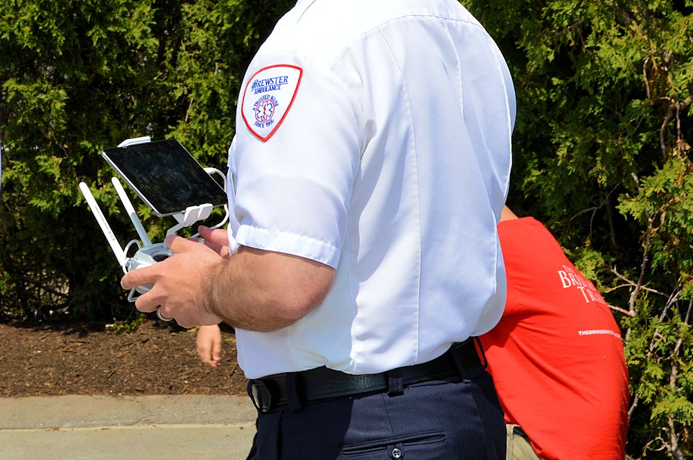 Brewster Ambulance Tech Flies the Drone From the Ground.