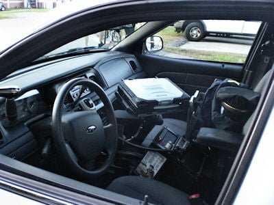 A look inside of the Police Vehicle