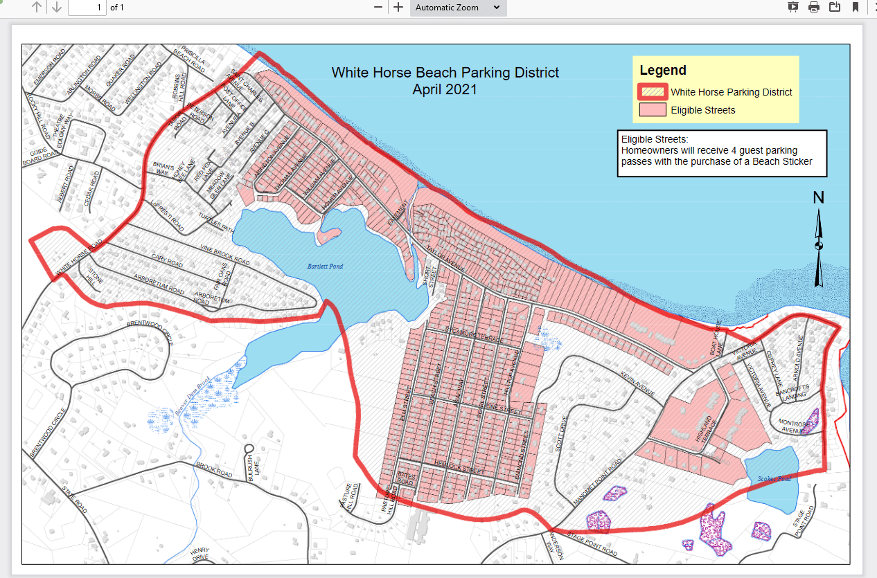 White Horse Beach Parking District Map